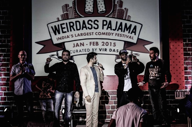 Eric Schwartz, Raj Sharma, Vir Das, Tehran Von Ghasri and Jeremy Craven at the Vishanya Amphitheatre in Pune, India, Jan. 23, 2015.